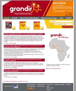 """page d'accueil du site """"grandir"""""""